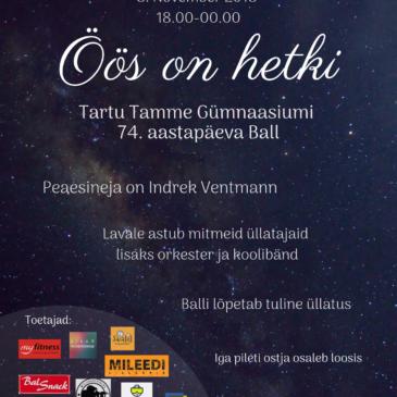 Tartu Tamme Gümnaasiumi 74./99. aastapäevale pühendatud sünnipäevaball