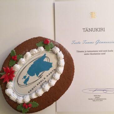 Tänu eesti keele aasta rikastamise eest